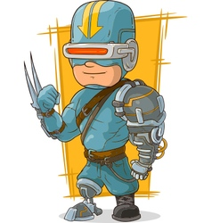 Cartoon cool combat cyborg superhero vector