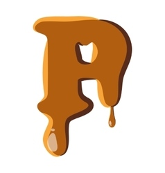 Letter p from caramel icon vector