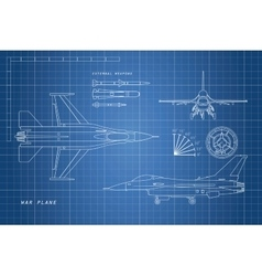 Drawing military aircraft top side front vector