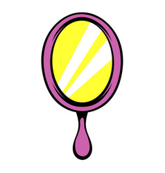 Pink hand mirror icon icon cartoon vector