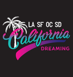 California calligraphic design with palm vector