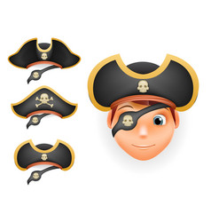 Pirate hats set realistic head isolated template vector