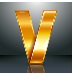 Letter metal gold ribbon - V vector image