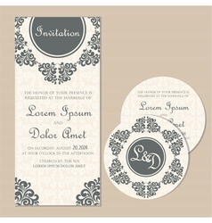 Wedding vintage cards set vector