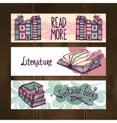 Retro books banner set vector