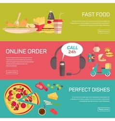 Fast food pizza delivery service fresh ingredients vector