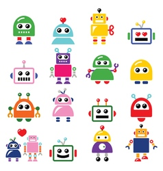 Male and female robot artificial intelligence vector