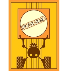 Funny robot holds a pizza box food delivery vector