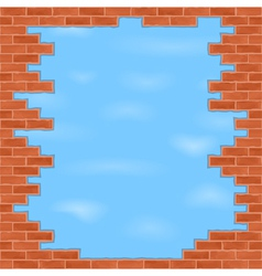 Broken brick wall vector image