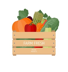 Fresh vegetables in a box vector