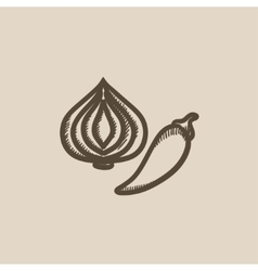 Garlic and chilli sketch icon vector