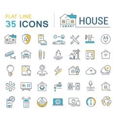 Set Flat Line Icons Smart House vector image