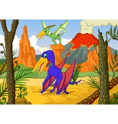 Cute two pterodactyl cartoon with volcano vector