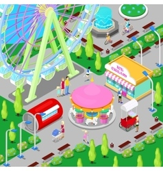 Isometric Amusement Park with Carousel vector image