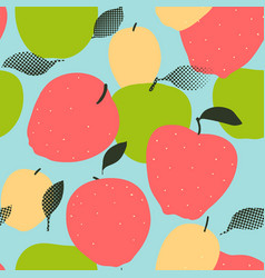 Apple fruits seamless pattern red green and vector