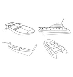 Boat speedboat pirogue raft and boat icon vector