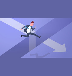 business risk concept with businessman jumping vector image