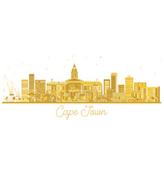 Cape town south africa city skyline golden vector