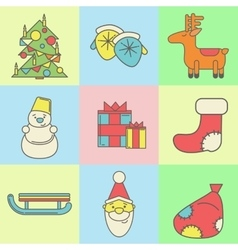 Christmas and new year icons on colored background vector