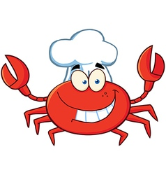 Crab chef cartoon mascot character vector