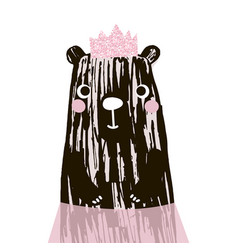 Cute bear with glitter pink crown vector