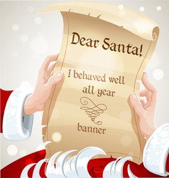 Dear Santa I behaved well banner vector image vector image