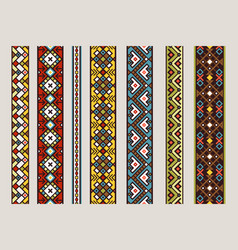 ethnic ribbon patterns set vector image vector image