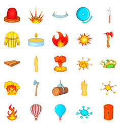 Firefighter icons set cartoon style vector