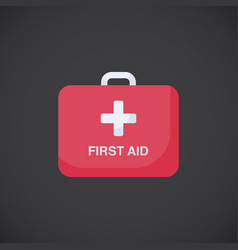 First aid kit box flat icon vector