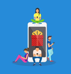flat men and women standing near big smartphone vector image vector image
