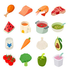 Food icons set isometric style vector