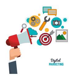 Hand holding speaker digital marketing vector