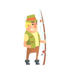 Happy amateur fisherman in khaki clothes standing vector
