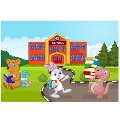 Happy animal going to school vector image