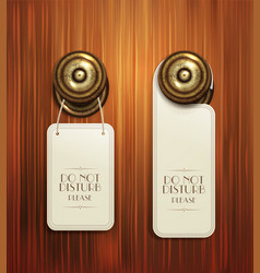 Hotel handles with hanging signs on the wooden bac vector
