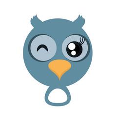 kawaii face owl animal fun vector image vector image