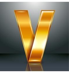 Letter metal gold ribbon - V vector image vector image