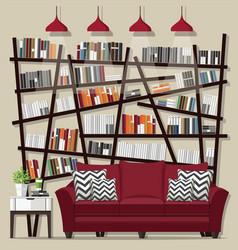 Living room bookshelves vector