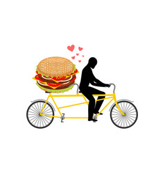 Lover fast food man and hamburger on tandem guy vector