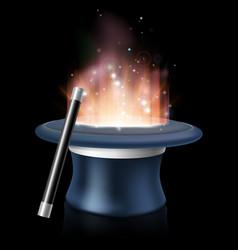 magic hat and magic wand vector image vector image
