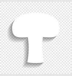 Mushroom simple sign white icon with soft vector