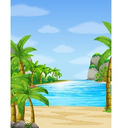 Nature scene with ocean at daytime vector image vector image