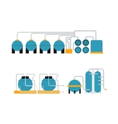 Oil gas storing in cargo service terminal flat vector image