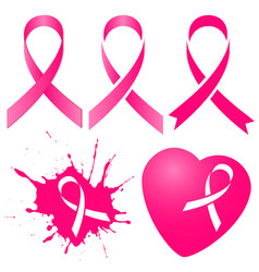 Pink ribbon in five variations vector