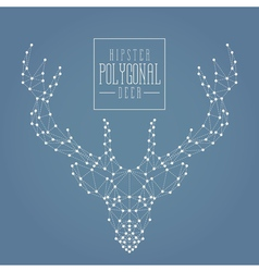 Polygonal deer doted line dark vector
