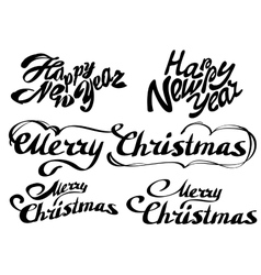 Set Happy new year text Merry Christmas vector image vector image