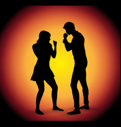 silhouette of fighting couple vector image vector image