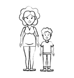 Silhouette woman pregnant and her son icon vector