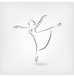 Sketch ballerina dancing studio symbol vector