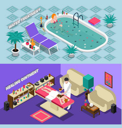 Spa salon isometric banners vector